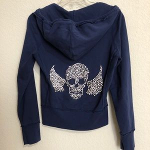 Twisted Heart Navy Wings & Skull Zip-Up HoodieRARE